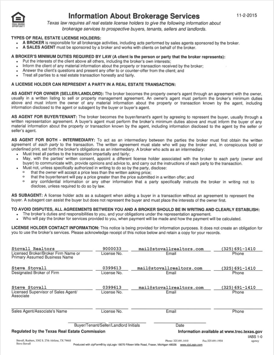 Texas Real Estate Commission Consumer Protection Notice Abilene